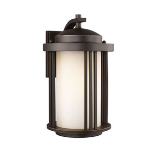 Crowell Antique Bronze Energy Star 15-Inch LED Outdoor Wall Lantern with Creme Parchment Glass