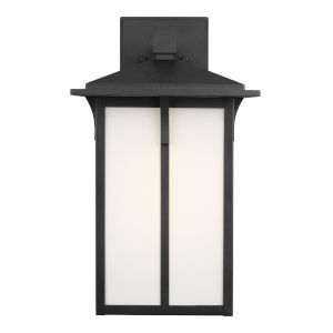 Tomek Black One-Light Outdoor Large Wall Sconce with Etched White Shade