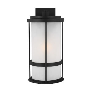 Wilburn Black 10-Inch One-Light Outdoor Wall Sconce with Satin Etched Shade