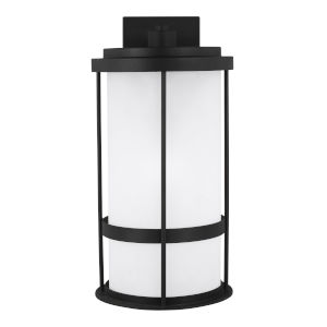 Wilburn Black One-Light Outdoor Large Wall Sconce with Satin Etched Shade Energy Star