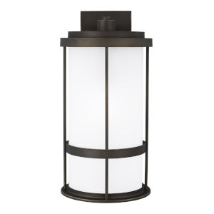 Wilburn Antique Bronze One-Light Outdoor Large Wall Sconce with Satin Etched Shade Energy Star