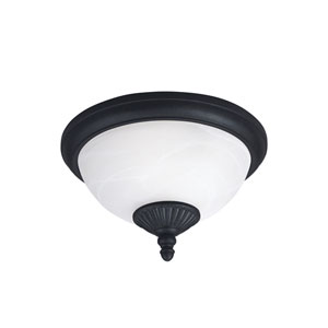 Yorktown Forged Iron Energy Star Two-Light LED Outdoor Ceiling Flush Mount
