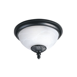 Yorktown Black Energy Star Two-Light LED Outdoor Ceiling Flush Mount