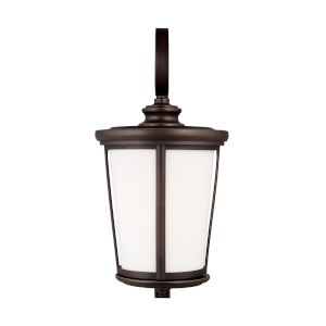 Eddington Antique Bronze 12-Inch One-Light Outdoor Wall Sconce with Cased Opal Etched Shade