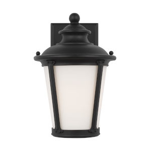 Cape May Black Seven-Inch One-Light Outdoor Wall Sconce with Etched White Inside Shade