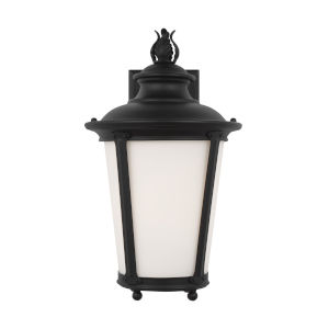 Cape May Black Nine-Inch One-Light Outdoor Wall Sconce with Etched White Inside Shade