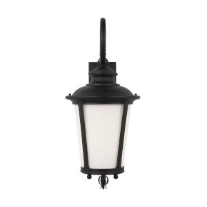 Cape May Black 11-Inch One-Light Outdoor Wall Sconce with Etched White Inside Shade Energy Star