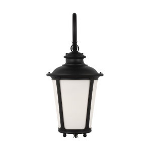 Cape May Black One-Light Outdoor Wall Sconce with Etched White Inside Shade