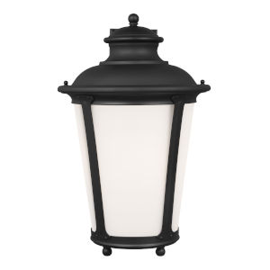 Cape May Black 13-Inch One-Light Outdoor Wall Sconce with Etched White Inside Shade