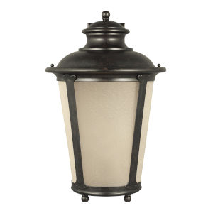 Cape May Burled Iron One-Light Outdoor Wall Sconce with Etched Hammered with Light Amber Shade