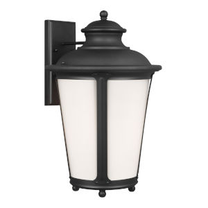 Cape May Black 13-Inch One-Light Outdoor Wall Sconce with Etched White Inside Shade Energy Star