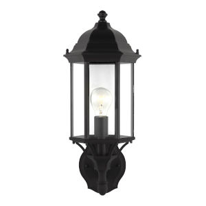 Sevier Black One-Light Outdoor Uplight Wall Sconce with Clear Shade