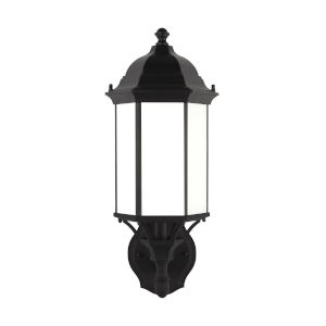 Sevier Black One-Light Outdoor Uplight Wall Sconce with Satin Etched Shade