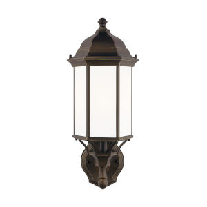 Sevier Antique Bronze One-Light Outdoor Uplight Medium Wall Sconce with Satin Etched Shade