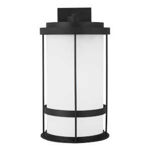 Wilburn Black 13-Inch One-Light Outdoor Wall Sconce with White Shade Energy Star