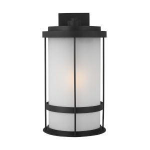 Wilburn Black 13-Inch One-Light Outdoor Wall Sconce with Satin Etched Shade Energy Star