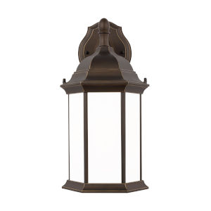 Sevier Antique Bronze One-Light Outdoor Downlight Medium Wall Sconce with Satin Etched Shade