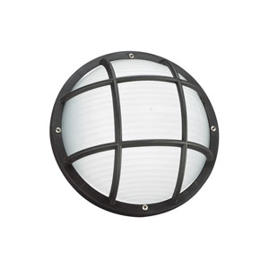 Bayside Black Energy Star 10-Inch LED Outdoor Round Wall Lantern with Cage
