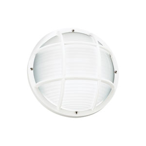 Bayside White Energy Star 10-Inch LED Outdoor Round Wall Lantern with Cage