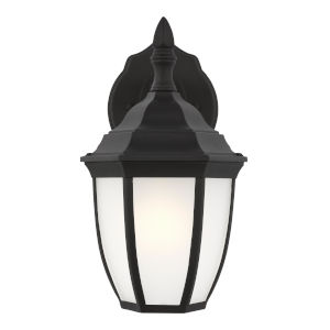 Bakersville Black One-Light Outdoor Wall Sconce with Satin Etched Shade
