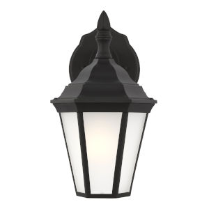 Bakersville Black One-Light Small Outdoor Wall Sconce with Satin Etched Shade