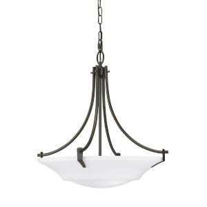 Barrington Oil Rubbed Bronze 22-Inch Three-Light Pendant with White Opal Etched Shade