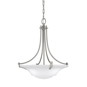 Barrington Brushed Steel 18-Inch Three-Light Pendant with White Opal Etched Shade