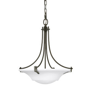 Barrington Oil Rubbed Bronze 18-Inch Three-Light Pendant with White Opal Etched Shade
