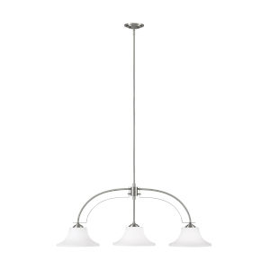 Barrington Brushed Steel 12-Inch Three-Light Pendant with White Opal Etched Shade