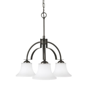 Barrington Oil Rubbed Bronze 23-Inch Three-Light Pendant with White Opal Etched Shade