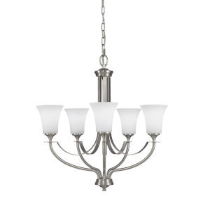 Barrington Brushed Steel Five-Light Chandelier with White Opal Etched Shade