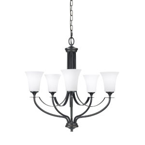 Barrington Oil Rubbed Bronze Five-Light Chandelier with White Opal Etched Shade