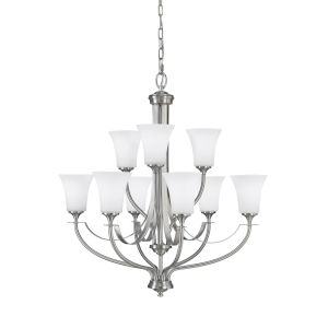 Barrington Brushed Steel Nine-Light Chandelier with White Opal Etched Shade
