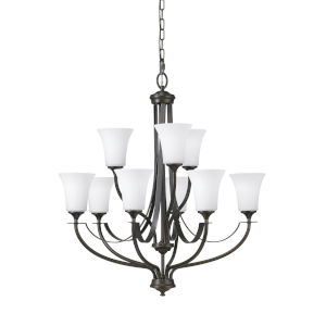 Barrington Oil Rubbed Bronze Nine-Light Chandelier with White Opal Etched Shade