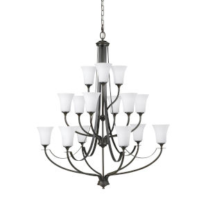 Barrington Oil Rubbed Bronze 15-Light Chandelier with White Opal Etched Shade