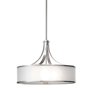 Casual Luxury Brushed Steel Four-Light Pendant with Silver Organza Shade