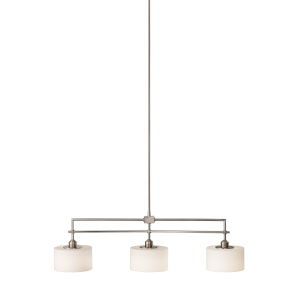 Sunset Drive Brushed Steel Eight-Inch Three-Light Pendant with White Opal Etched Shade