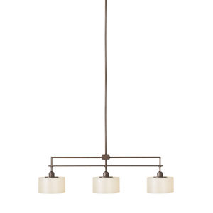 Sunset Drive Corinthian Bronze Eight-Inch Three-Light Pendant with Striated Pearl Shade