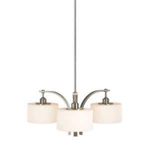 Sunset Drive Brushed Steel 27-Inch Three-Light Pendant with White Opal Etched Shade
