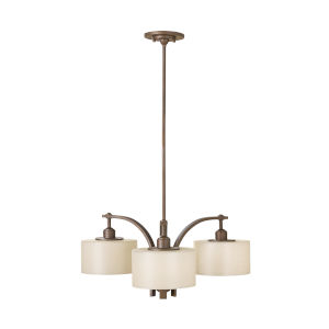 Sunset Drive Corinthian Bronze 27-Inch Three-Light Pendant with Striated Pearl Shade