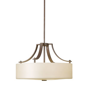 Sunset Drive Corinthian Bronze 18-Inch Three-Light Pendant with Striated Pearl Shade