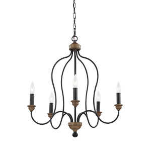 Hartsville Weathered Oak Five-Light Chandelier