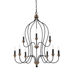 Hartsville Weathered Oak Nine-Light Chandelier