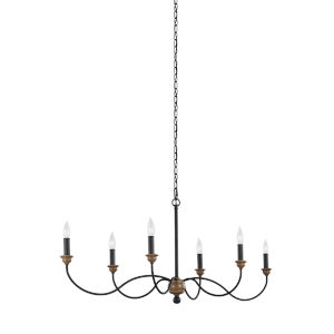 Hartsville Weathered Oak Six-Light Chandelier