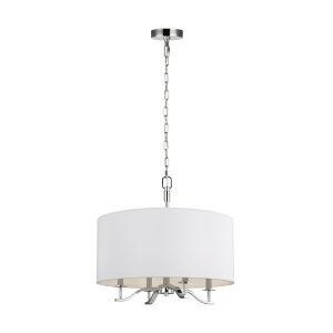 Hewitt Polished Nickel Four-Light Chandelier with White Parchment Shade