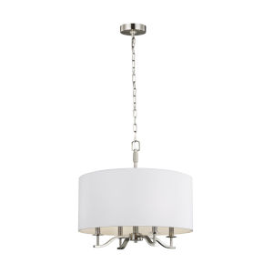 Hewitt Satin Nickel Four-Light Chandelier with White Parchment Shade