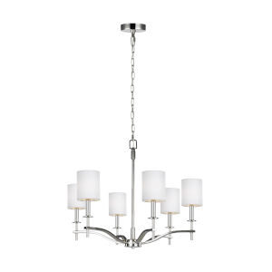 Hewitt Polished Nickel Six-Light Chandelier with White Parchment Shade
