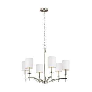 Hewitt Satin Nickel Six-Light Chandelier with White Parchment Shade