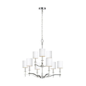 Hewitt Polished Nickel Nine-Light Chandelier with White Parchment Shade