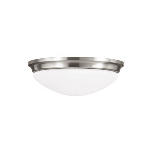 Barrington Brushed Steel Three-Light Flush Mount with White Opal Etched Shade